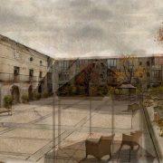Proyecto, dibujo del patio exterior