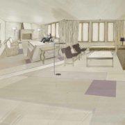 proyecto, dibujo del salón