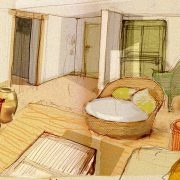 Proyecto, dibujo salón de la suite