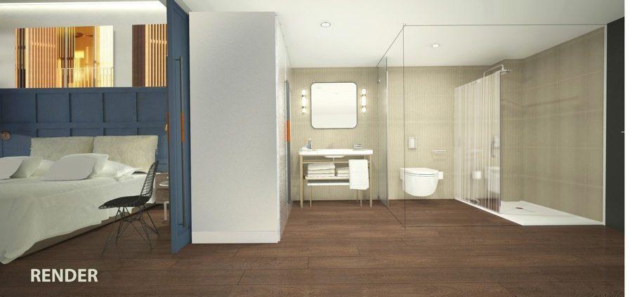 Render del proyecto habitacion tipo hotel Vincci consulado Bilbao
