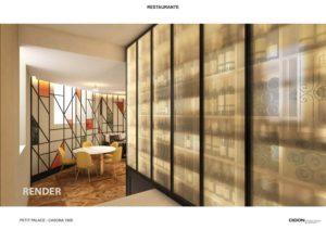 Render proyecto del restaurante con panel retroiluminado