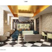 Rendere proyecto del lobby con sillas y sofás de distintos colores